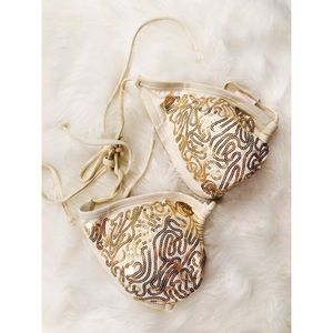 Xhilaration Gold Sequin Bikini Top✨MEDIUM